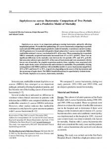 Staphylococcus aureus Bacteremia: Comparison of Two ... - SciELO