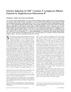 Staphylococcus Enterotoxin B Lymphocyte Effector Function by ...