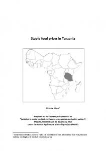 Staple food prices in Tanzania - AgEcon Search