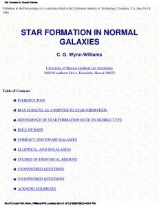 Star Formation in Normal Galaxies