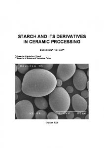 starch and its derivatives in ceramic processing