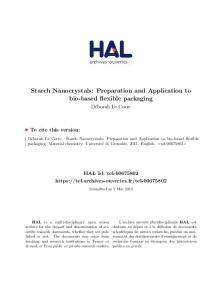 Starch Nanocrystals: Preparation and ... - Tel Archives ouvertes - Hal