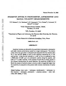 STARSPOT JITTER IN PHOTOMETRY, ASTROMETRY AND RADIAL ...