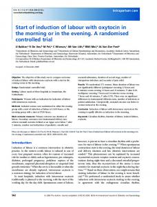 Start of induction of labour with oxytocin in the ... - Wiley Online Library