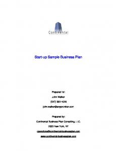 Start-up Sample Business Plan