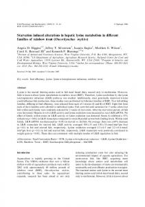 Starvation induced alterations in hepatic lysine ... - PubAg - USDA