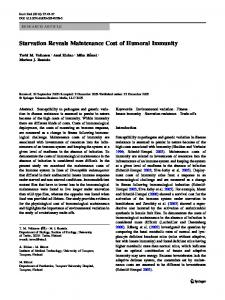 Starvation Reveals Maintenance Cost of Humoral Immunity