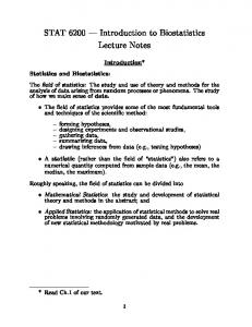 introduction to biostatistics lecture notes pdf