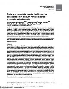 State and non-state mental health service ...