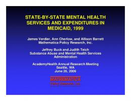 State-By-State Mental Health Services and Expenditures in Medicaid ...