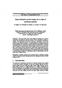 State feedback control design for a class of nonlinear systems