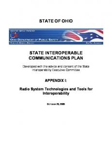 STATE OF OHIO STATE INTEROPERABLE COMMUNICATIONS PLAN