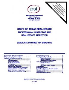 state of texas real estate professional inspector and real estate ...