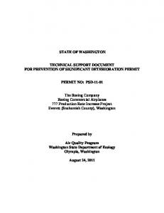 STATE OF WASHINGTON TECHNICAL SUPPORT DOCUMENT ...