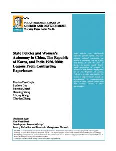 State Policies and Women's Autonomy in China, The ... - CiteSeerX