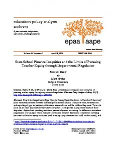 State School Finance Inequities and the Limits of Pursuing Teacher
