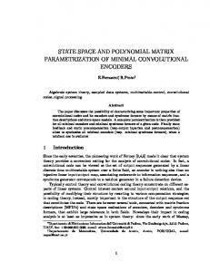 state space and polynomial matrix parametrization of ... - DEI UniPd