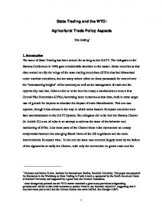 State Trading and the WTO: Agricultural Trade Policy ... - CiteSeerX