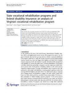 State vocational rehabilitation programs and federal disability ...