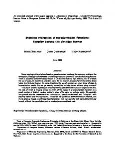 Stateless evaluation of pseudorandom functions: Security beyond the ...