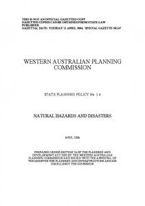 Statement of Planning Policy 3.4 Natural Hazards and Disasters