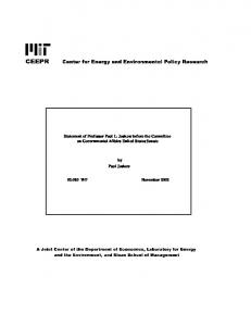 Statement of Professor Paul L. Joskow before the ... - mit ceepr