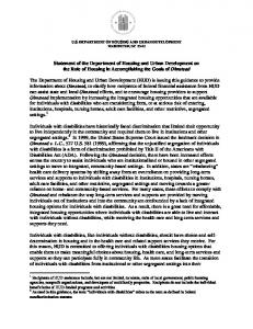 Statement of the Department of Housing and Urban Development on ...