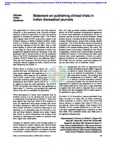 Statement on publishing clinical trials in Indian