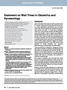 Statement on wait times in obstetrics and gynaecology - CiteSeerX