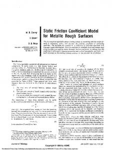 Static Friction Coefficient Model for Metallic Rough