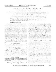 Static Response and Local Field Factor of the Electron Gas
