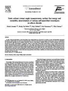 Static Solvent Contact Angle Measurements, Surface Free Energy and ...