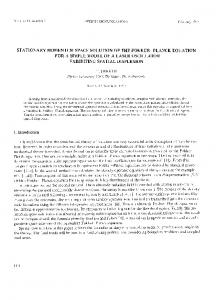stationary momentum space solution of the fokker ... - ScienceDirect.com