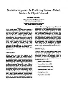 Statistical Approach for Predicting Factors of Mood Method for ... - arXiv