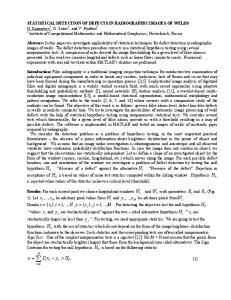 statistical detection of defects in radiographic images of ... - CiteSeerX