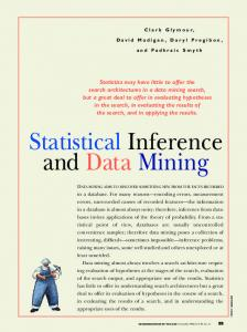 Statistical Inference and Data Mining - CiteSeerX