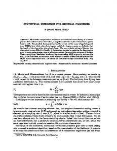 STATISTICAL INFERENCE FOR RENEWAL PROCESSES 1 ...