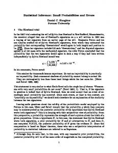 Statistical Inference: Small Probabilities and Errors