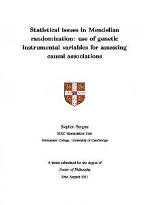 Statistical issues in Mendelian randomization: use of genetic ... - Core