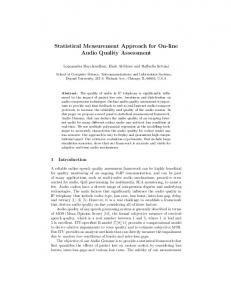 Statistical Measurement Approach for On-line Audio Quality Assessment