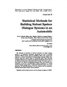 Statistical Methods for Building Robust Spoken Dialogue Systems in ...