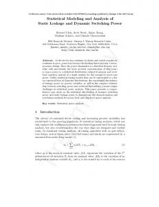Statistical Modeling and Analysis of Static Leakage ... - Semantic Scholar