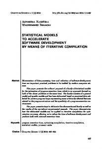 statistical models to accelerate software ... - Semantic Scholar