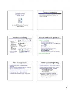 Statistical NLP Question Answering Question Answering People ...