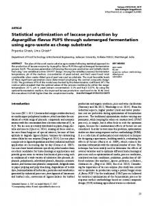 Statistical optimization of laccase production by Aspergillus flavus