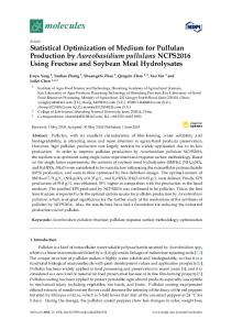 Statistical Optimization of Medium for Pullulan Production by ... - MDPI