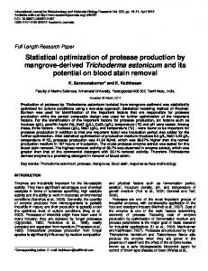 Statistical optimization of protease production by
