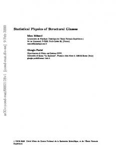 Statistical Physics of Structural Glasses