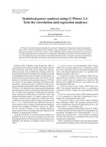 Statistical power analyses using G*Power 3.1: Tests for correlation ...