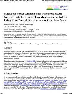 Statistical Power Analysis With Microsoft Excel - American Statistical ...